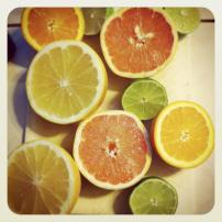 Citrus fruits, like lemon, grapefruit, and orange, are rich in Vitamin C, fiber, flavonoids and ellagic acid. The components are antioxidants, and can enhance detoxification and the immune system. High intake of Vitamin C is associated with a decreased incidence of intestinal cancers and Vitamin C can block the formation of cancer-causing compounds.